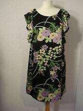 Oasis black floral print silk satin shift dress 12
