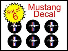 """Ford Mustang 1.5"""" stripes 6pc Replacement Decal Sticker center cap wheel logo"""