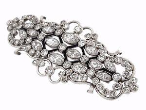 Estate 5.50 ctw Art Deco Platinum Diamond Enamel Pin/Brooch  - HM1537SE