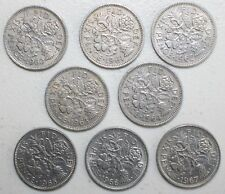 Set of 7 Very Nice British Sixpence U K QUEEN ELIZABETH Coins 1961 to 1967 WOW