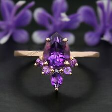 Purple Amethyst Pear Stone Ring 14K Solid Gold Engagement Gift Ring GR292