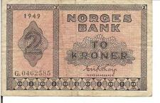NORWAY, 2 KRONER, P#16b, 1949
