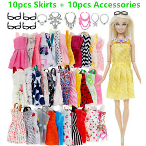 Barbie Doll Dress Clothes Jewellery Glasses Kit Outfits Accessories Girl Gift