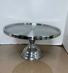 """Update International Round Cake Stand Gray/Silver 12.3/4"""" dia x 7.5"""" H Stainless"""