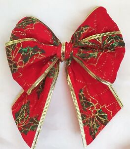 """Luxury red velvet 5"""" tie on  bows with xmas holly design * gifts, xmas tree"""