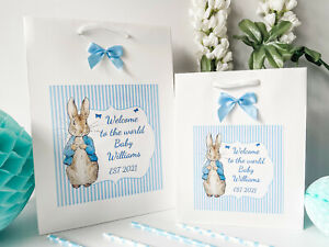Personalised Congratulations New Baby Boy Gift Bag Welcome Peter Rabbit