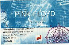 PINK FLOYD TICKET BILLET CONCERT STRASBOURG FRANCE 9 SEPTEMBRE 1994 RARE
