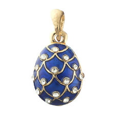 Faberge Egg Pendant / Charm Pinecone with crystals 2.1 cm blue #6401-11