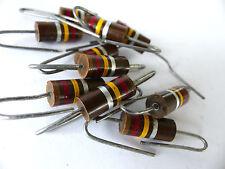 10 x Kohlemasse Widerstand  120 KOhm, 2W, Carbon Comp Resistors , vintage