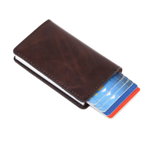 Portable Leather(PU) Credit Card Holder Money Cash Wallet Clip RFID BROWN A35