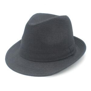 Black Unisex Retro Gentleman Fedora Jazz Dad Hat Plain Gangster Panama Cap