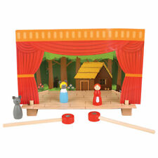 Bigjigs Toys Wooden Magnetic Theatre Puppet Show Stage Pretend Play