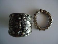 a cuff bracelet (2 in all) Heavy Metal Motorbike Bracelet linked elasticated &