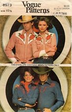 1970's VTG VOGUE Men's Shirt and Embroidery Transf. Pattern 8973 Size 15.5 UNCUT
