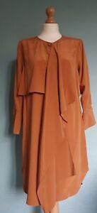Modern Rarity Pure Silk Burnt Orange Draped Shirt Dress/Tunic Size 8