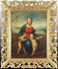 After Raphael Religious Antique Oil Painting Madonna, Child and Infant St John