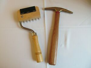 Pair of C.S. Osbourne Upholstery Tools - Webbing Stretcher & Bronze Tack Hammer