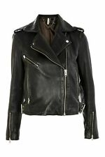 Topshop black leather biker jacket size US4