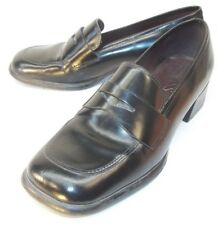 Bass DEL CHIANTI Womens Penny Loafer Heels US 6M Black Leather Slip-on Work