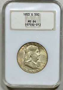 1953-S Franklin 50c Silver Half Dollar NGC MS 64