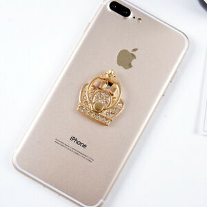 LiliDreamStore 360 Rotating Crystal Phone Ring Stand Holder-Classic Gold Crown