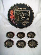 "11"" Tin Souvenir Serving Tray - Wyoming plus 6 matching coasters"