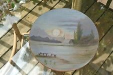 Vintage Small  Decorative Wooden Plate Hand Painted with a beautiful Scene