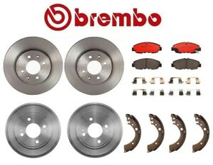 For Honda Civic Brake Kit Front Disc Rotors Ceramic Pads Rear Drums Shoes Brembo