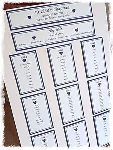 Personalised Wedding Table Plan. Emily