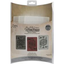 POKER FACE Sizzix Texture Trades Embossing Folders 3pk - Tim Holtz