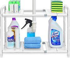 Simple Houseware STEEL Under Sink 2 Tier Expandable Shelf Organizer Rack, White