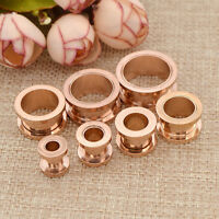 Punk Rose Gold Steel Screw Tunnels Ear Expander Stretch Plugs Piercing Gauge