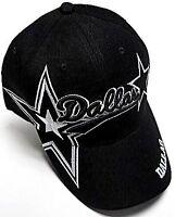 Dallas City Black Hat Cap Script Visor Embroidered Signature Double Cowboys Star