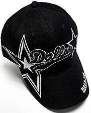 Dallas Cowboys Black Hat Cap Script Visor Embroidered Signature Double Star Logo