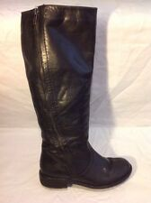 Barratts Black Knee High Leather Boots Size 36
