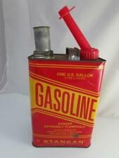 New listing Vintage Stancan Metal Gas Can 1 gal Gasoline Plastic Spout Seals Great Graphics