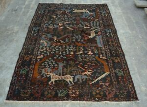 F2778 Vintage Handmade Afghan Tribal baluchi Pictorial Nomad Rug 4'5 x 6'9 Feet