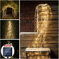 Solar LED Waterfall Lights Outdoor Copper Wire Fairy String Wedding Home Decor