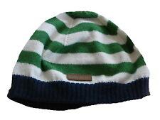 H & M tolle Strick Mütze Gr. 62 / 68 grün-beige gestreift !