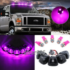 5x Cab Marker Light Smoke Cover + Base Pink 5050 LED Bulb for 99-16 Ford 150-550