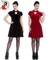 SPIN DOCTOR HELL BUNNY DRESS MIKA VELVET PARTY MINI BLACK RED XS-4XL