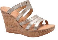 f3b4a0723207 Women s Born Lisi Wedge Platform HEELS Sandal Metallic Silver Leather US 10