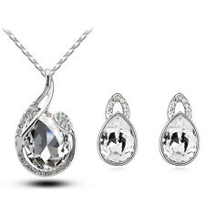 Silver Leaf White Bridal Brides Jewellery Set Stud Earrings Necklace Sets S514