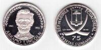 EQUATORIAL GUINEA – RARE SILVER PROOF 75 PESETAS COIN 1970 YEAR KM#10.1 LINCOLN