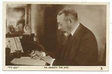 ROYALTY - KING GEORGE V. at DESK, BUCKINGHAM PALACE  Tuck Real Photo Postcard