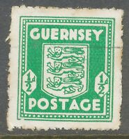 2304 GUERNSEY 1941 1/2 d.Arms of Guernsey FU emerald-green VARIETY  broken frame