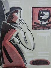 YVAN THEYS (1936-2005) / PEINZEND / KLEURHOUTSNEDE / 65x50cm / SIG / 1996