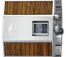 PRE-OWNED $250 NIXON A028439 Rotolog Stainless Steel Teak Men's Black Dial Watch