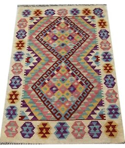 REAL Genuine Afghan Handmade Tribal Multi Colour Wool Kilim  Area Rug 60x94 cm