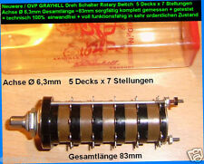 Ø 6,3mm GRAYHILL 7x 5 Dreh Schalter Rotary Switch 5 Decks x 7 Stellungen 36°
